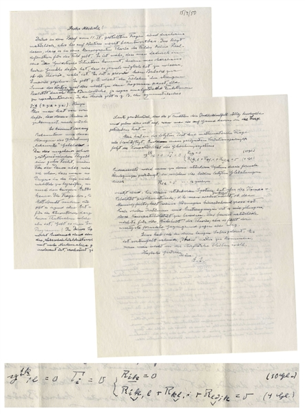 Albert Einstein Autograph Letter Signed on God & Unified Field Theory, With Mathematical Equations in His Hand Regarding the Theory -- ''...It is devilishly difficult to get closer to 'Him'...''