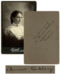 Annie Oakley Signed Cabinet Card -- Large 4.25 x 6 Card Signed on Her 59th Birthday