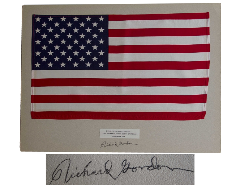 Apollo 12 Flown United States Flag, One of the Largest Apollo Flown Flags at 18'' x 11.5'' -- From the Collection of Richard Gordon Who States That the Flag Landed on the Lunar Surface