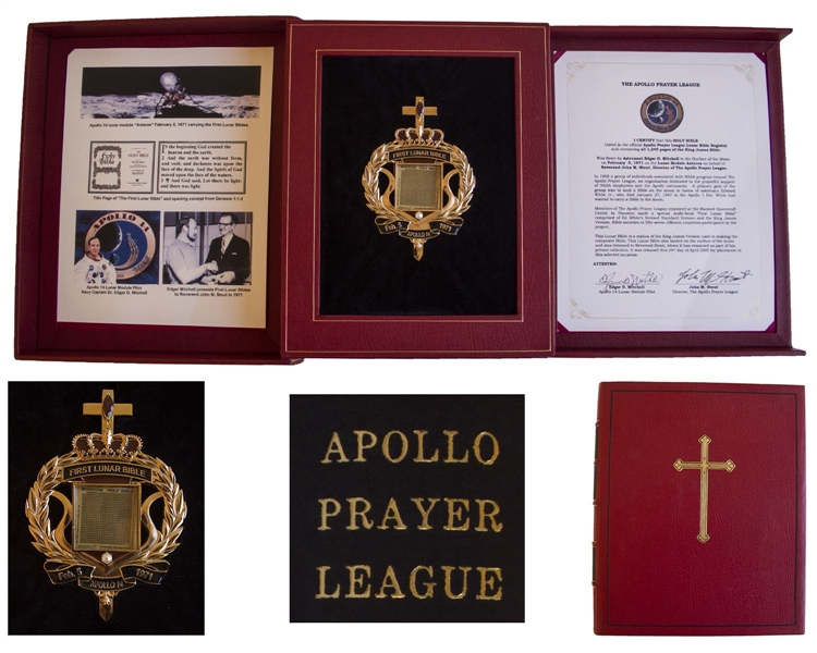 Bible Flown to & Landed Upon the Moon During the Apollo 14 Mission -- One of Only 11 Copies With Official Certification by Both Astronaut Edgar Mitchell & Apollo Prayer League Director Rev. John Stout