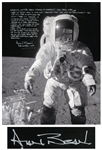 Alan Bean Signed 16 x 20 Lunar Photo With Fantastic Handwritten Detail on Working in His Space Suit -- ...As you can see, both legs are getting dirty with moon dust...