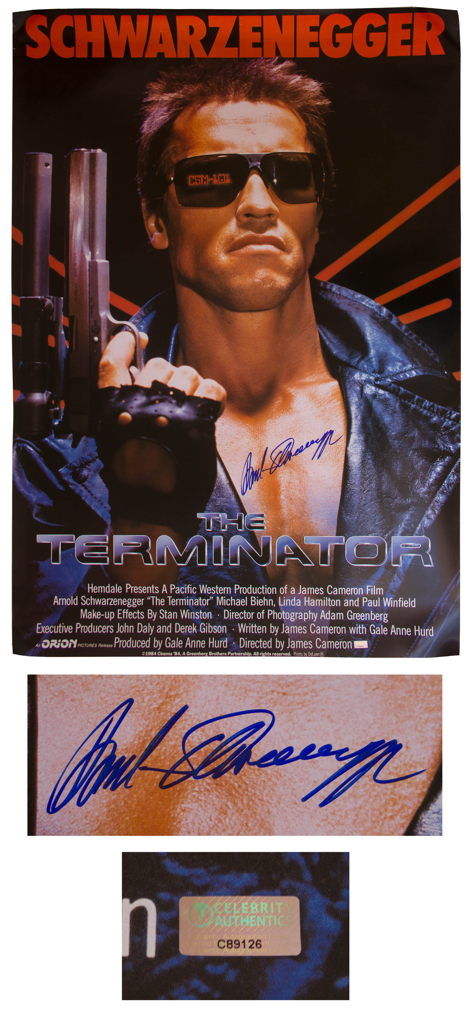 Arnold Schwarzenegger Signed The Terminator Movie Poster From 1984