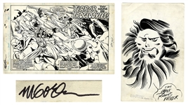 Avengers Original Art From 1977 Signed by the Artist Michael Golden -- Splash Page With Additional Large Sketch by Golden on Verso