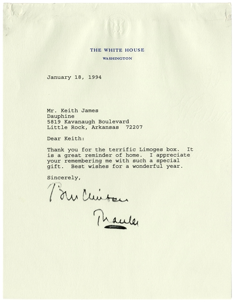 Bill Clinton Letter Signed as President -- Bill Thanks an Arkansas Friend, ''...It is a great reminder of home...''