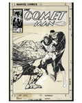 Bill Sienkiewicz Original Hand-Drawn Cover Art for Comet Man #5 -- With a Guest Appearance of The Thing and Mister Fantastic From Fantastic Four