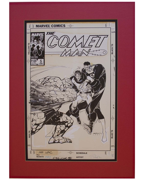Bill Sienkiewicz Original Hand-Drawn Cover Art for ''Comet Man #5'' -- With a Guest Appearance of ''The Thing'' and ''Mister Fantastic'' From ''Fantastic Four''