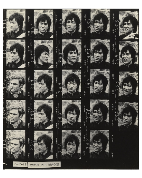 Bruce Lee Contact Sheet of Photos for ''Enter the Dragon''