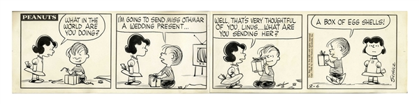 Charles Schulz Hand-Drawn Peanuts Comic Strip From 1960 -- Linus Gives Miss Othmar Her Wedding Present in This Famous Strip
