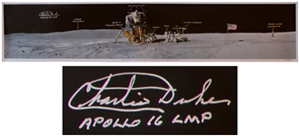 Charlie Duke Signed 40 x 8 Panoramic Photo of the Moon During the Apollo 16 Mission -- Duke Also Handwrites Objects in the Photo Including Fellow Astronaut John Young