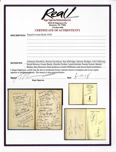 ''Esquire's Jazz Book 1945'' Signed by Charlie Parker, Count Basie, Coleman Hawkins, Louis Jordan, Benny Goodman, Roy Eldridge, Johnny Hodges, Cab Calloway, Cootie Williams & More -- With Epperson COA
