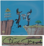 Chuck Jones Signed Limited Edition Hand-Painted Cel of Coyote Crossing Showing Bugs Bunny & His Nemesis Wile E. Coyote