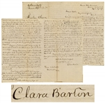 Clara Barton Autograph Letter Signed Regarding POW Dorence Atwater -- ...I am neither a prophet, nor the daughter of a prophet, nevertheless, more than five years ago I made a prophecy...
