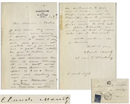 Claude Monet Autograph Letter Signed to His Patron, Georges de Bellio -- ...my wife is sick and I didnt have the means to buy what the doctor prescribed her. I am truly ashamed to bother you...