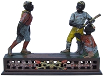 Dark Town Battery Cast Iron 19th Century Mechanical Bank -- Fully Functioning