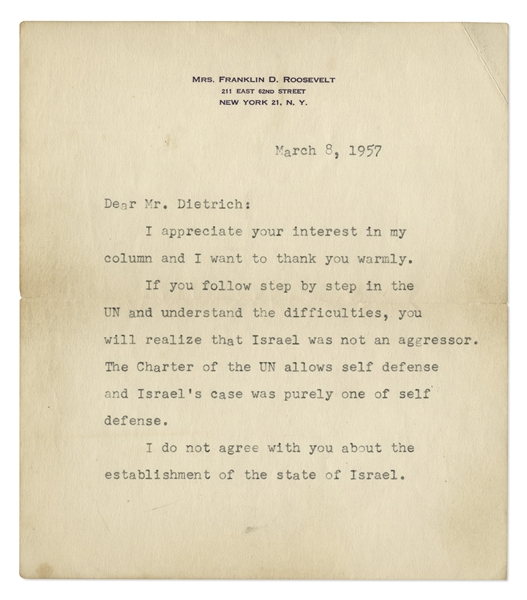 Eleanor Roosevelt Letter Signed Where She Vigorously Defends Israel's Right of Self Defense: ''...Israel was not an aggressor...The Israelis have a right to their land...'' -- With PSA/DNA COA