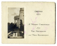 Franklin D. Roosevelt White House Christmas Card From 1933 -- With Silver Gelatin Photo of the White House