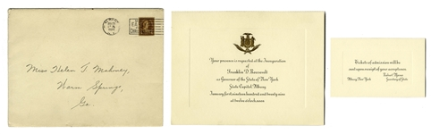 Franklin D. Roosevelt Invitation to His Gubernatorial Inauguration -- Given to His Physical Therapist Helena Mahoney