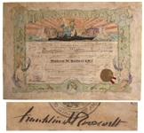 Franklin D. Roosevelt Document Signed as President -- FDR Signs a Certificate of Honor in 1936 for the USS Indianapolis, the Ship That Famously Sunk 9 Years Later in the Navys Worst Maritime Disaster