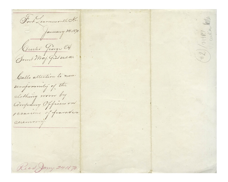 Rare George A. Custer Autograph Letter Signed as Lt. Colonel of the 7th Cavalry -- ''...some of the company officers appear on parade wearing 'government pants!'...''
