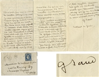 George Sand Autograph Letter Signed -- ...I forgot to tell you that the mysterious author of Synedise does not demand anything for his work...