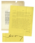 J.D. Salinger Letter Signed -- ...considering what you told me on the phone about emotional involvement, its probably better we didnt get any more idiosyncratic notions...