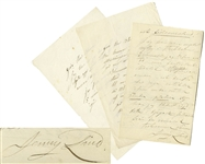 Jenny Lind Swedish Nightingale Autograph Letters Signed -- Lot of 3 Letters