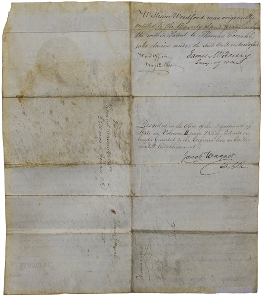 John Adams 1800 Land Grant Signed as President With Bold Signature -- Awarding Revolutionary War General William Woodford 2,500 Acres in Ohio