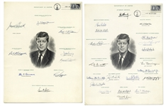 Robert Kennedy Signed Portrait of His Brother, President John F. Kennedy -- Also Signed by JFKs Justice Department