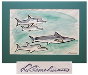 Ludwig Bemelmans Watercolor From Marina, Measuring 24 x 16.5 -- Featuring the Shark Who Swallows Marina & the Porpoises Who Save Her