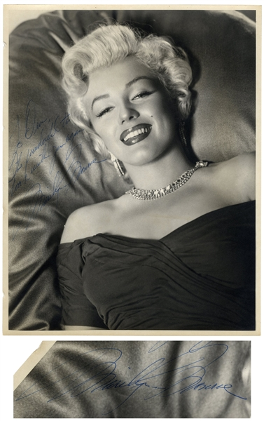Gorgeous Marilyn Monroe Signed Photo Measuring 11'' x 14'' -- Given by Marilyn to One of the Dancers in the Famous Dance Scene From ''Gentlemen Prefer Blondes''