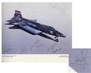 Neil Armstrong Signed Poster of an X-15 Jet, Signed When Armstrong Was a Test Pilot at Edwards Air Force Base -- Poster Also Signed by the Worlds Fastest Man Pete Knight