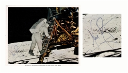 Neil Armstrong Signed 10 x 8 Photo Stepping Onto the Moon -- Uninscribed