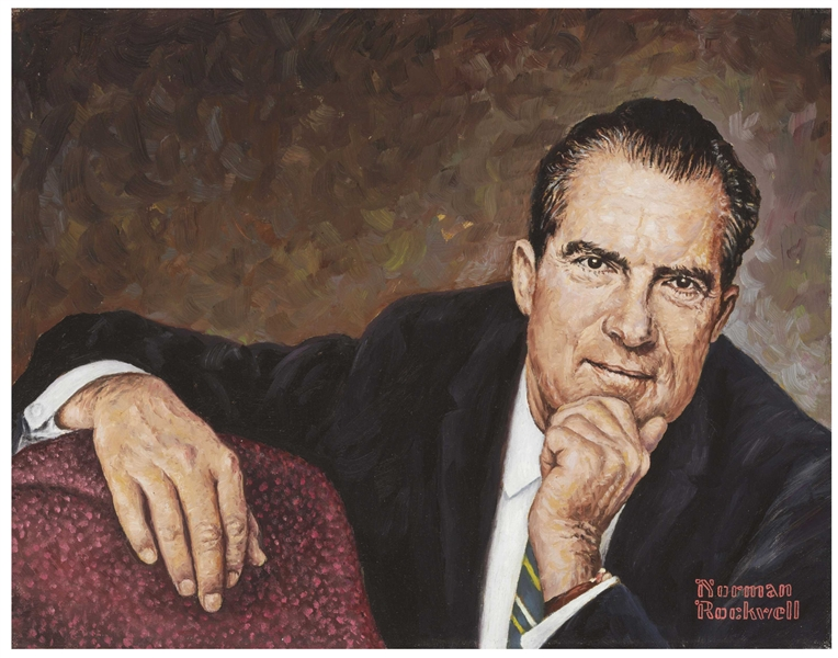 Norman Rockwell Oil on Canvas Painting of Richard Nixon -- The National Portrait Gallery Study for ''Mr. President (Richard Nixon)'', Painted in 1968