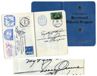 Jesse Owens Signed Philatelic Passport -- Also Signed by Isaac Asimov