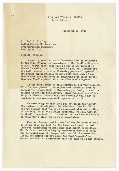 Orville Wright's Nephew Regarding the Infamous Smithsonian Label to Display the Kitty Hawk -- ''...so that the Smithsonian will never use the word in connection with any aircraft...''