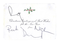 Pink Floyd Signed Christmas Card -- Signed by Nick Mason, Richard Wright, Roger Waters and David Gilmour -- With PSA/DNA COA