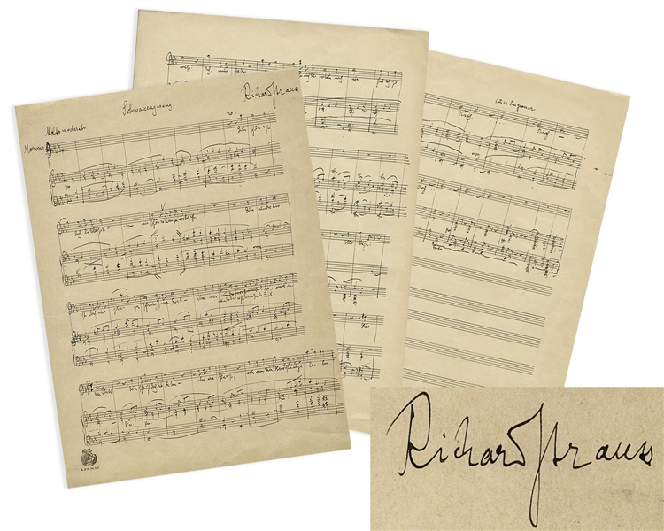 Richard Strauss Signed, Handwritten Musical Manuscript for the Final Scene in His Opera, ''Die schweigsame Frau''