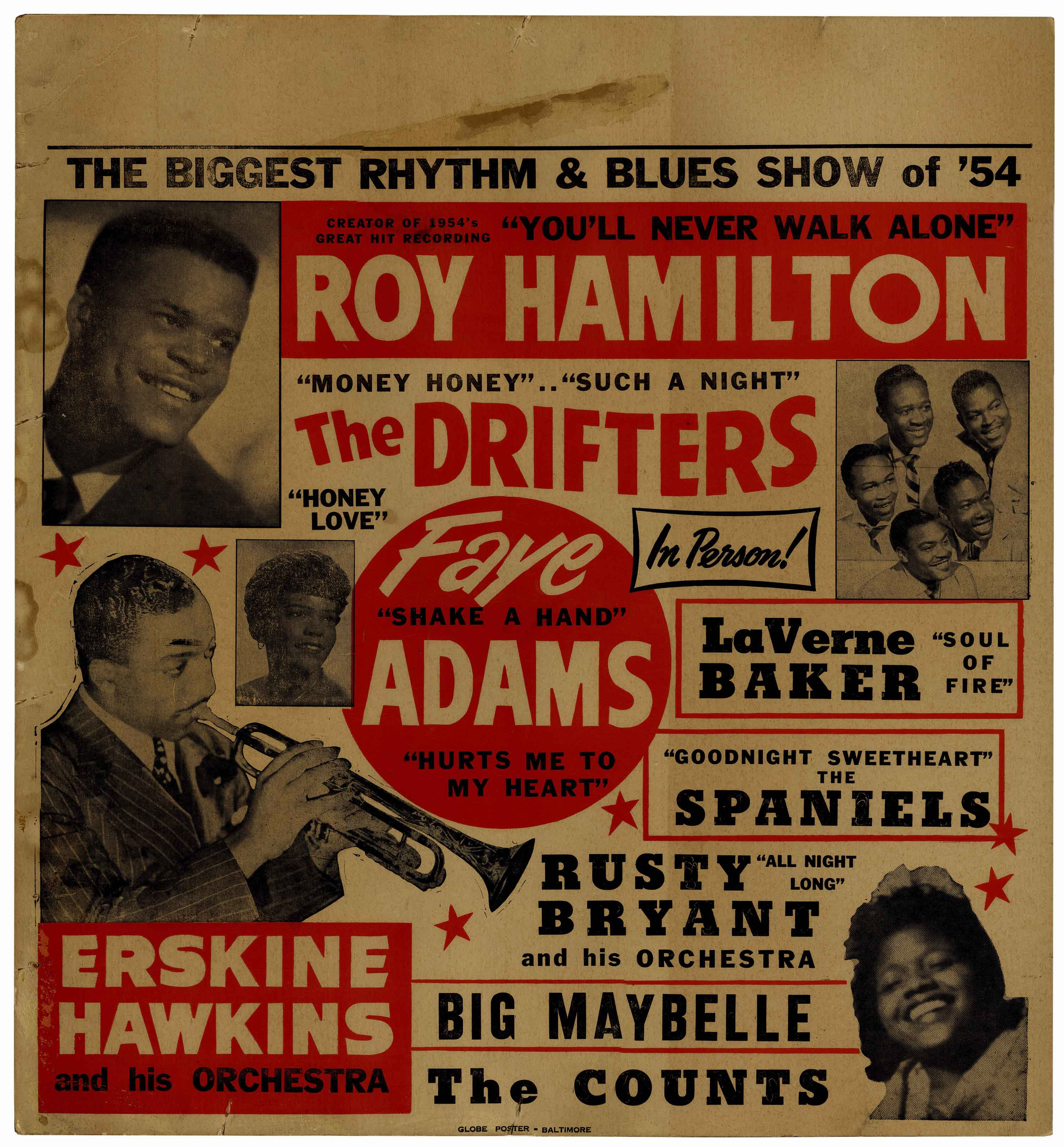 item detail roy hamilton and the drifters concert poster from 1954