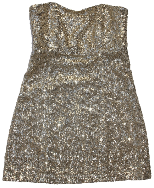 Sheryl Crow Personally Owned & Worn Gold Sequined Party Dress by ''Alice + Olivia''