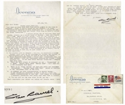 Stan Laurel Letter Signed -- ...am a little tired of [Jimmy] Durante - same old routine over & over again is a bit boring...we are just ordinary normal people...forget the celeb nonsense...