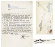 Stan Laurel Letter Signed With Answers to Questions About the Laurel & Hardy Movies -- ...The Street Musicians - shin kicking & pulling pants off was out of Youre Darn Tootin...
