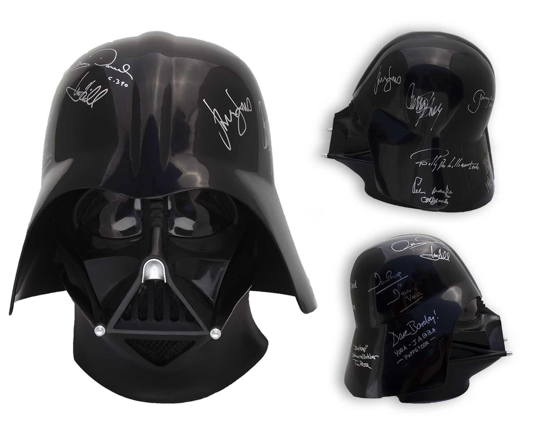 lot detail star wars cast signed darth vader helmet signed by
