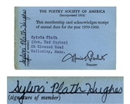 Sylvia Plath Signed Card for The Poetry Society of America