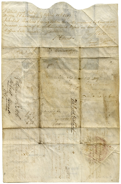 Thomas Jefferson Ship's Papers Signed as President -- Countersigned by James Madison