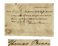 Very Rare Thomas Paine Autograph Letter Signed, to Fellow Revolutionary Ira Allen