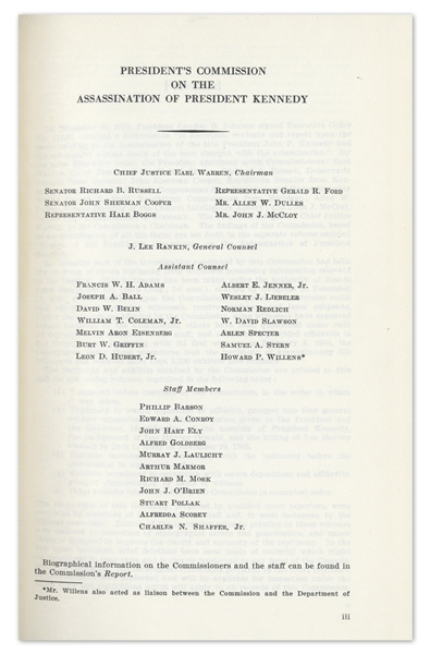 First Edition, 26 Volume Set of the Warren Commission's Report on the Assassination of John F. Kennedy