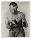 Heavyweight Jack Sharkey Signed 8 x 10 Photo -- Famous Photograph With Knuckles Bared