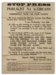 The Battle of Dublin & Start of The Irish Civil War Announced in This Broadside -- 28 June 1922