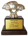 Unique 1974 Disney Trophy Bestowed Upon Actress Helen Hayes for Her Work in the Sequel to The Love Bug -- Herbie Rides Again