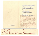 Charles Tex Watson Autograph Letter Signed Within a Religious Greeting Card -- ...I will be sure + keep your friend that got bit in my prayers!...